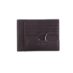 SEEOO WALLET PORTA CARTE CREDITO  IN PELLE MARRONE / BROWN CON PINCE NEZ +3.00