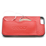 CUSTODIA-COVER  IPHONE 5  IN PELLE ROSSA-RED CON OCCHIALI VICINO +2.50